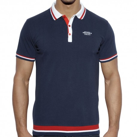 Polo Washed Manches Longues Rouge ES Collection en soldes rzbHQ