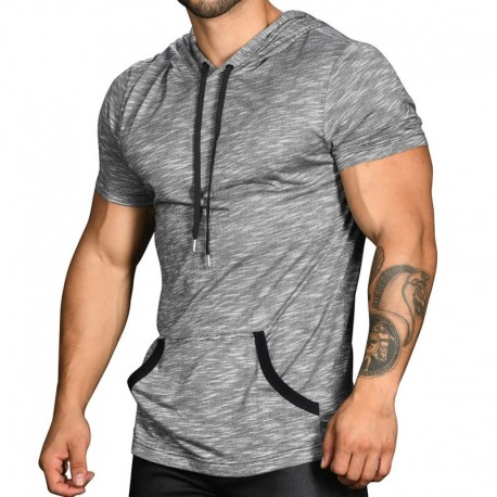 Andrew Christian T-Shirt Hoodie Rayonne Jersey Gris