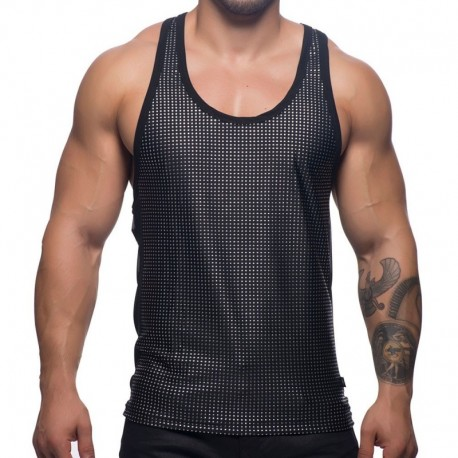 Andrew Christian Glam Tank Top - Black - Silver