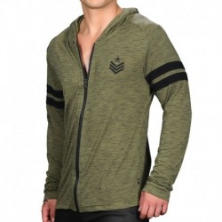 Andrew Christian Burnout Sergeant Hoodie - Khaki