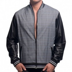 Andrew Christian Highland Plaid Bomber Jacket - Grey