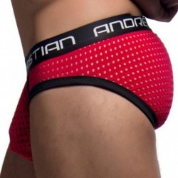 Andrew Christian Almost Naked Peepshow Mesh Brief - Red