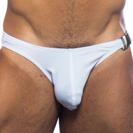 Andrew Christian Buckle Bikini Swim Brief - White