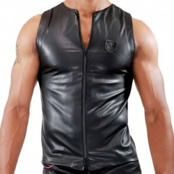 TOF Fetish Zipped Tank Top - Black