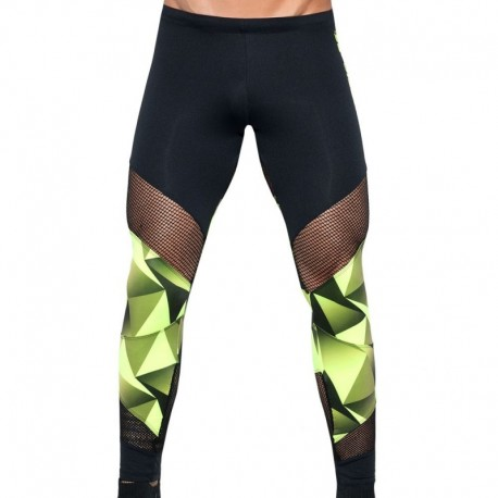ES Collection Athletic Neon Leggings - Black - Lime