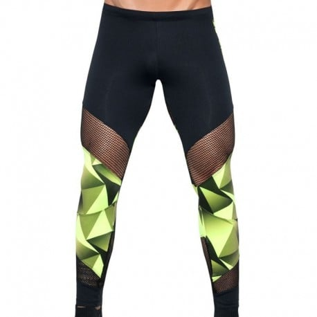 ES Collection Legging Neon Athletic Noir - Citron Vert