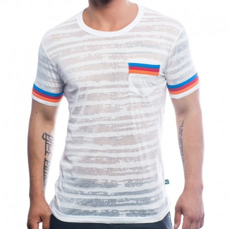 Andrew Christian T-Shirt California Burnout Stripe Blanc