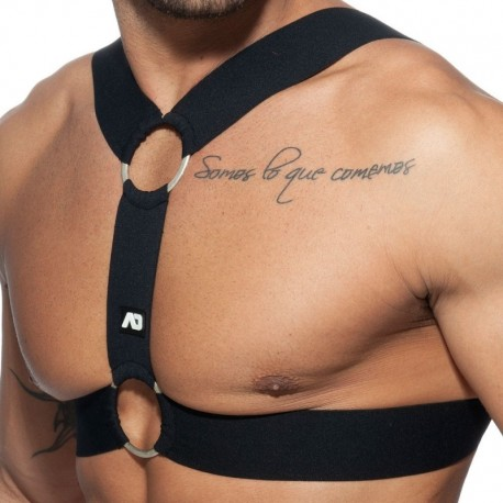 AD Fetish Double Ring Harness - Black