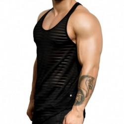 Andrew Christian Seductive Net Stripe Tank Top - Black