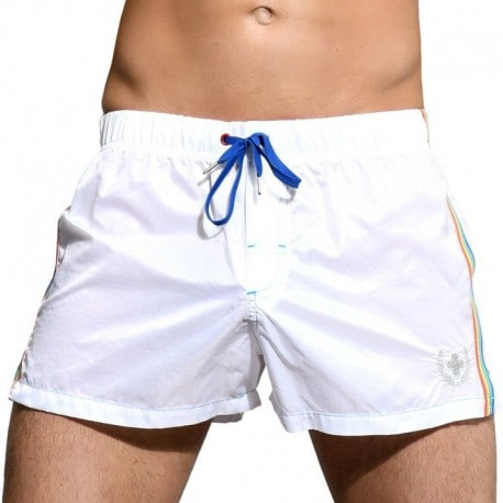 Andrew Christian Short de Bain Athletic Pride Blanc