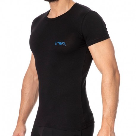 Emporio Armani Monogram T-Shirt - Black - Blue