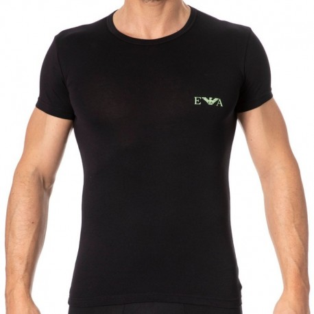 Emporio Armani Monogram T-Shirt - Black - Yellow