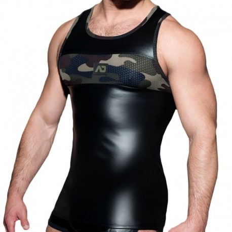 AD Fetish RubMesh Tank Top - Black - Camo