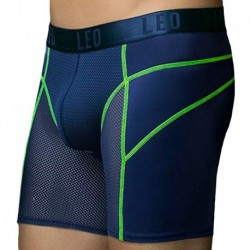 LEO Boxer Long Sport Breathable Mesh Bleu