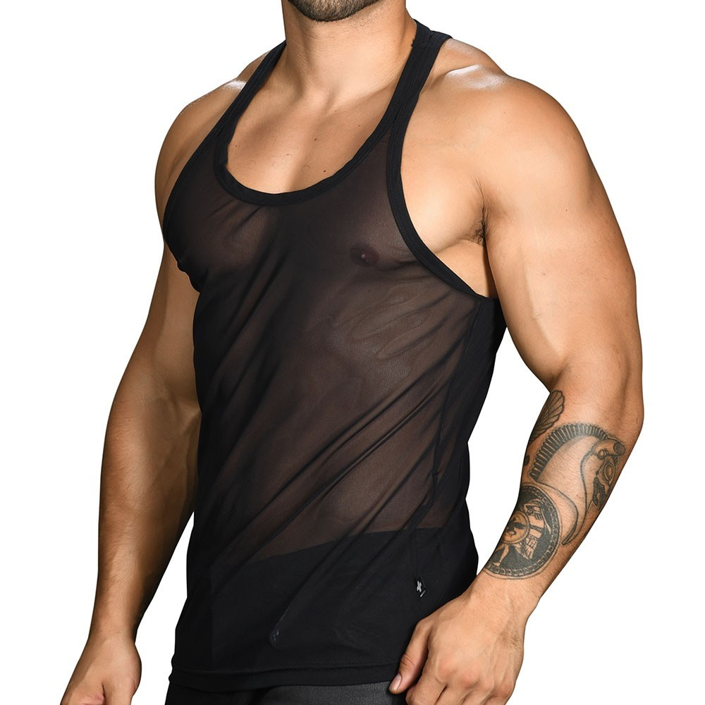 33ad2d6483d87 Andrew Christian Gigolo Mesh Tank Top - Black