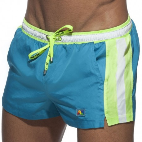 Addicted Short de Bain Basic Stripes Bleu Paon