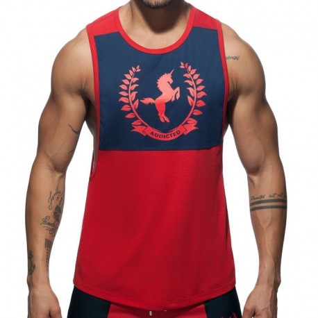 Addicted Horse Tank Top - Red - Navy