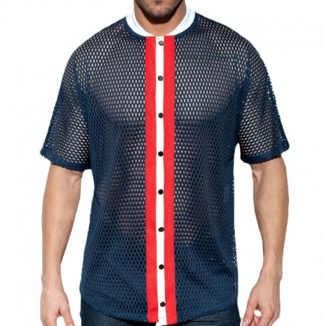 ES Collection Open Mesh Shirt - Navy