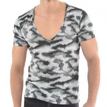 Roberto Lucca T-Shirt V-Neck Sporty Camouflage Noir