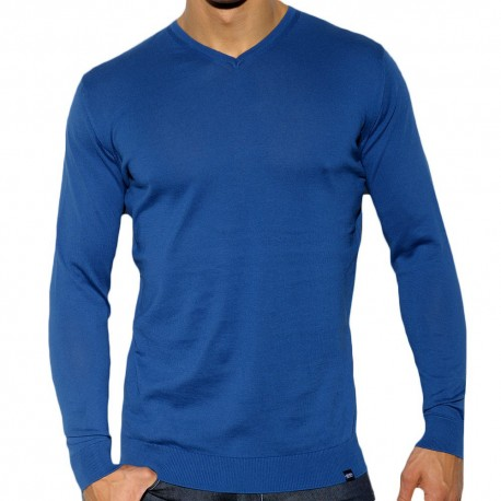 ES Collection Cotton Knit V-Neck Sweatshirt - Navy