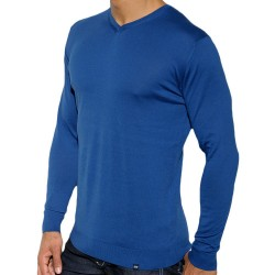 ES Collection Sweat-Shirt Col V Cotton Knit Marine