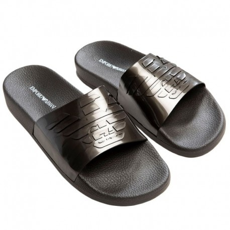Emporio Armani Metallic Slippers - Grey