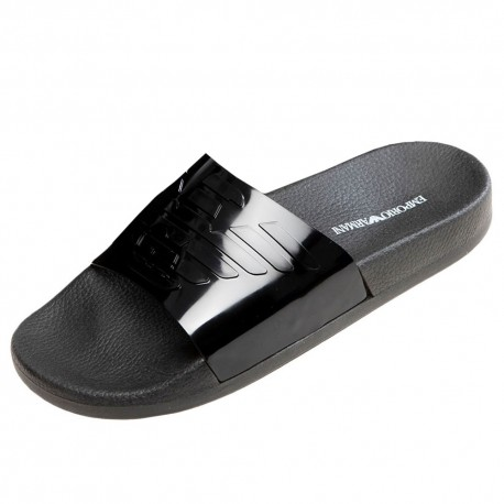 Emporio Armani Metallic Slippers - Black