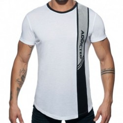 Addicted T-Shirt Vertical Stripe Blanc