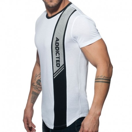 Addicted Vertical Stripe T-Shirt - White