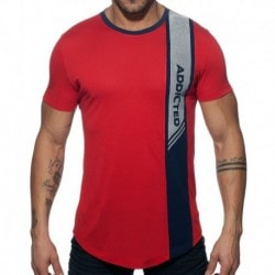 Addicted Vertical Stripe T-Shirt - Red