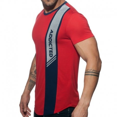 Addicted T-Shirt Vertical Stripe Rouge