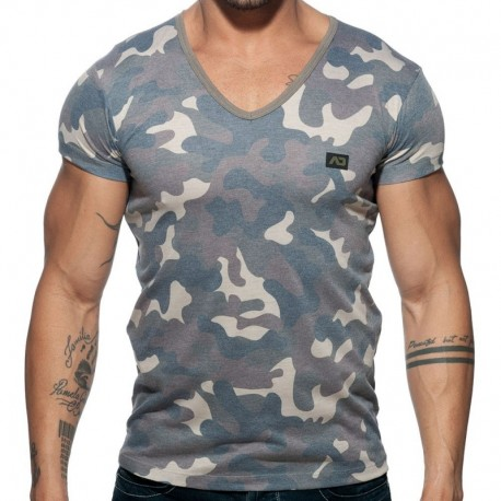 Addicted Washed Camo T-Shirt - Khaki