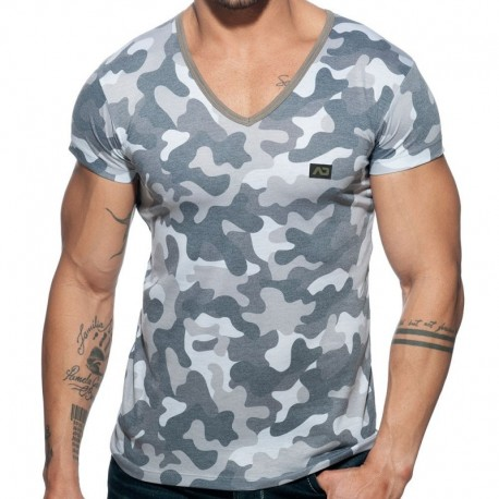 Addicted Washed Camo T-Shirt - Grey