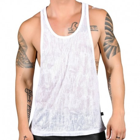 Andrew Christian Glisten Burnout Tank Top - White