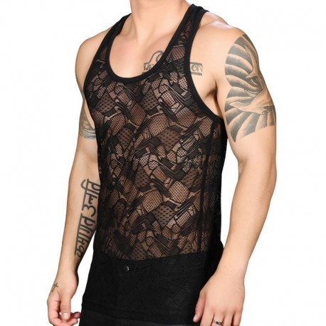 Andrew Christian Flare Lace Tank Top - Black