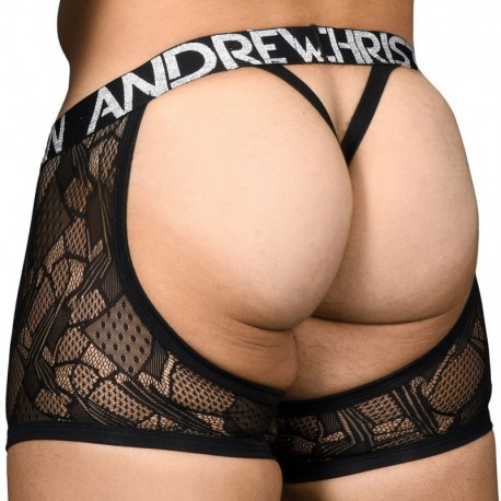 Andrew Christian Almost Naked Flare Lace Chap Thong - Black