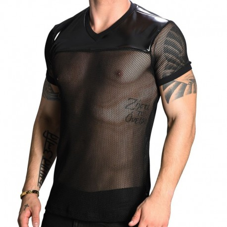 Andrew Christian Football Net T-Shirt - Black