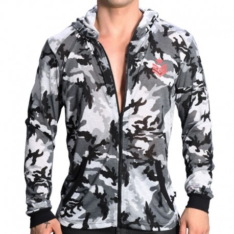Andrew Christian Veste Skinny Sergeant Camouflage Gris