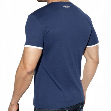 ES Collection Double Neck T-Shirt - Navy
