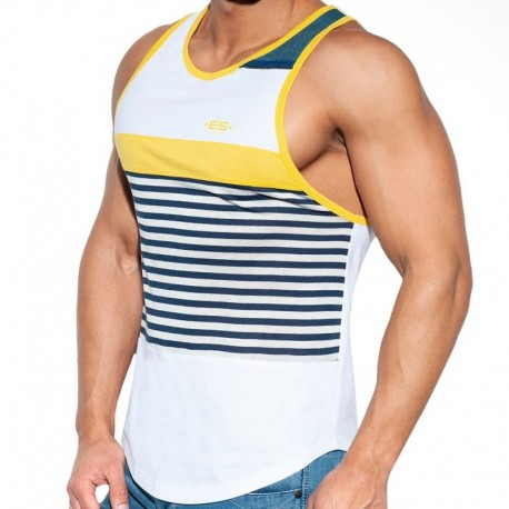ES Collection Sailor Jeans Tank Top - White - Yellow