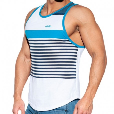 ES Collection Sailor Jeans Tank Top - White - Blue