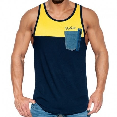 ES Collection Pocket Jeans Tank Top - Navy