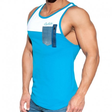 ES Collection Pocket Jeans Tank Top - Blue