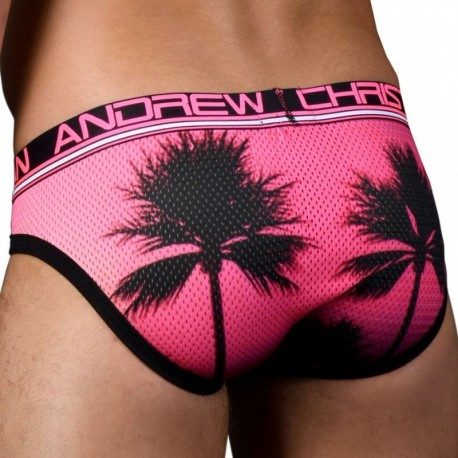 Andrew Christian California Sunset Mesh Brief - Pink