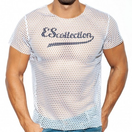 ES Collection Open Mesh T-Shirt - White