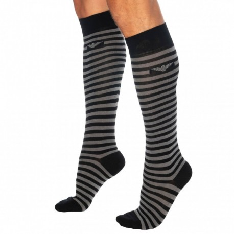 Emporio Armani Gift Box: 2-Pack Multistripes Long Socks - Black