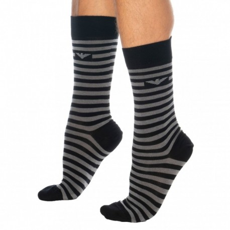 Emporio Armani Gift Box: 3-Pack Multistripes Socks - Black
