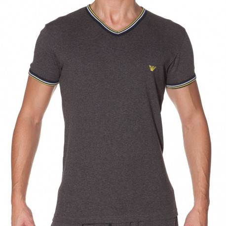 T-Shirt Ribbed Cotton Gris