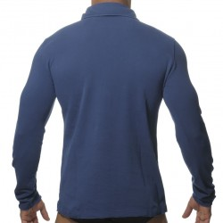 Polo Washed Manches Longues Marine