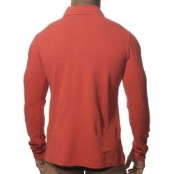 Polo Washed Manches Longues Rouge